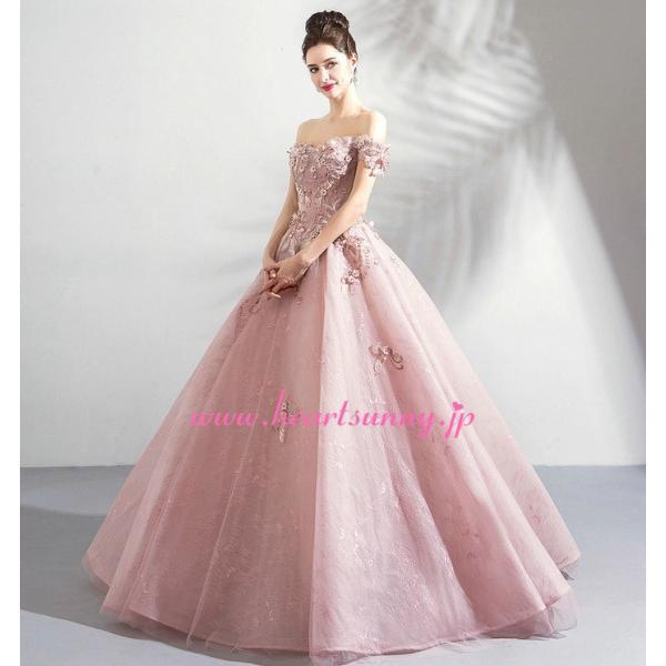 パーティードレス カラードレス ピンク色 ロング e319|heartsunny|05