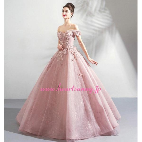 パーティードレス カラードレス ピンク色 ロング e319|heartsunny|06
