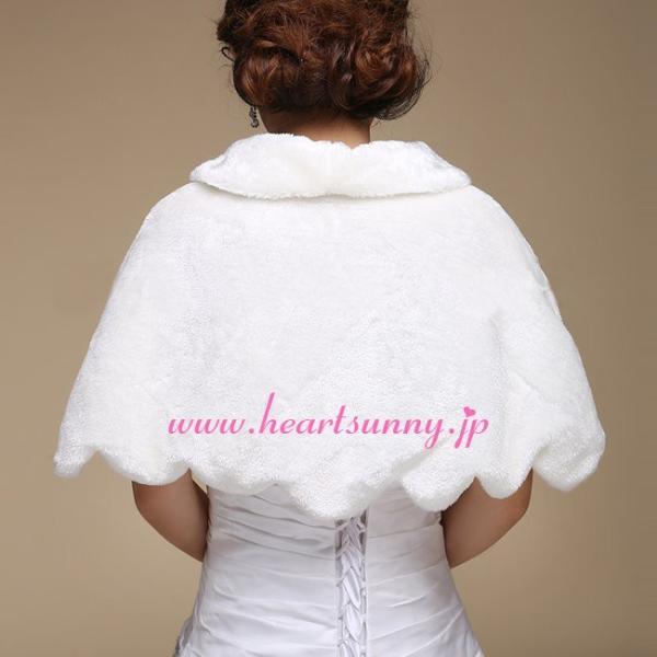 結婚式ボレロ 秋冬フェイクファーケープ 襟付き羽織り 防寒対策 ショール P003|heartsunny|02