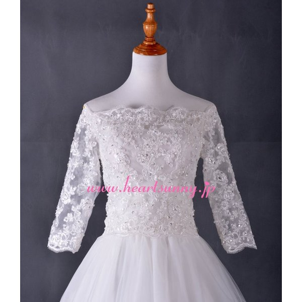 結婚式ボレロ オフショルダー7分袖 透明花柄レース 後ろ編み上げ P014|heartsunny