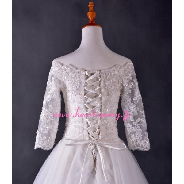 結婚式ボレロ オフショルダー7分袖 透明花柄レース 後ろ編み上げ P014|heartsunny|02