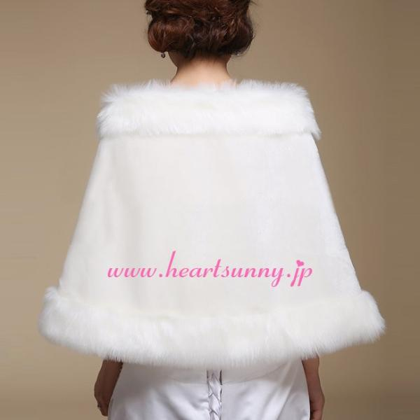 結婚式ボレロ 秋冬フェイクファーストール 羽織り ショール 防寒対策 ケープ P038|heartsunny|02