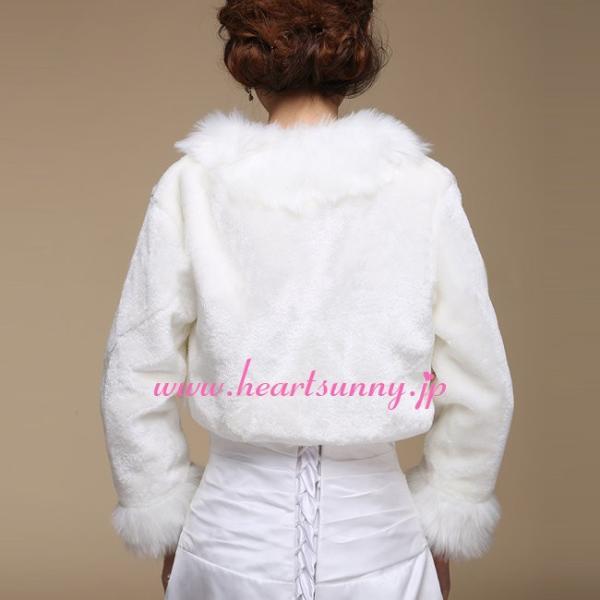 結婚式ボレロ 秋冬フェイクファーボレロ 襟付き 長袖 羽織り 防寒対策 ショール P039|heartsunny|02