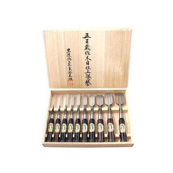 播州三木 五百蔵作 追入鑿 木目仕上 黒檀柄 三枚裏 10本組 桐箱入 手打ち桂 大工道具