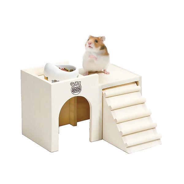 「ハムちゃんの2階でごはん M」と「ハムちゃんのフード付き食器」のセット/ハウス お家 餌入れ 木製ハウス ハムスター マルカン MARUKAN