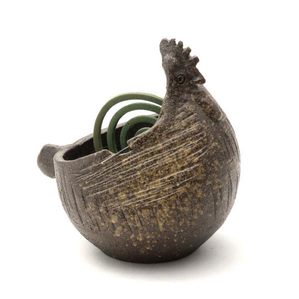 【送料無料】【信楽焼】へちもん にわとり かやりポット こげ茶 (通し棒付)|hechimon-shop|02
