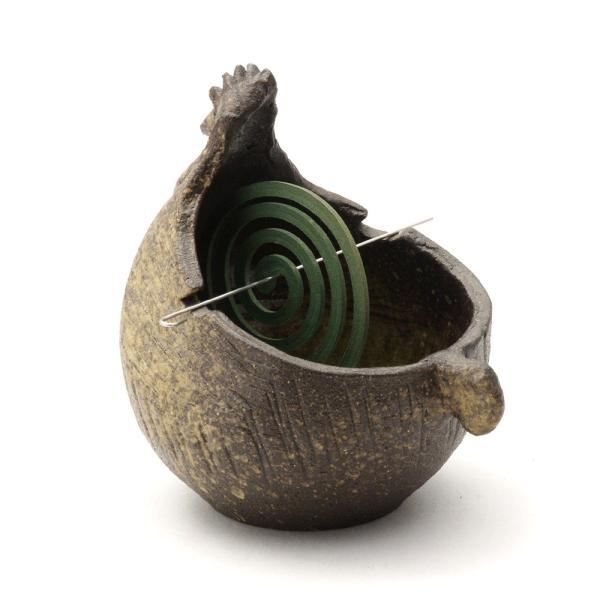 【送料無料】【信楽焼】へちもん にわとり かやりポット こげ茶 (通し棒付)|hechimon-shop|03