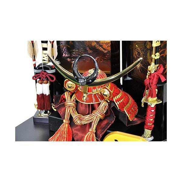 五月人形 上杉謙信 兜 コンパクト 収納飾り 朱赤塗り兜 人形の平安大新 hm12052|heiandaishin|05