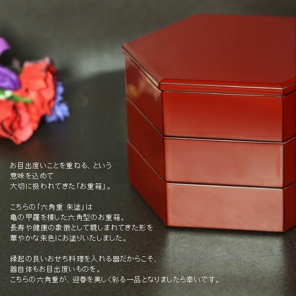 六角二段重 朱塗(取皿4枚付) 重箱/漆器|heiando|03