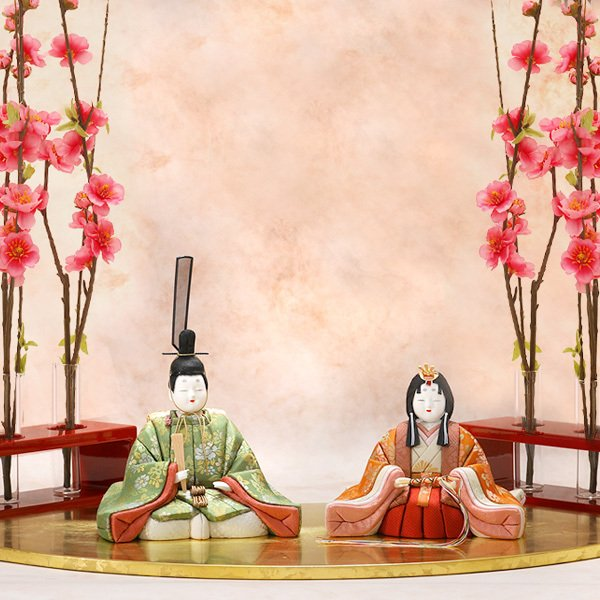 雛人形 コンパクト 江戸木目込み 雛人形と扇面雛舞台 吉徳大光|heiando