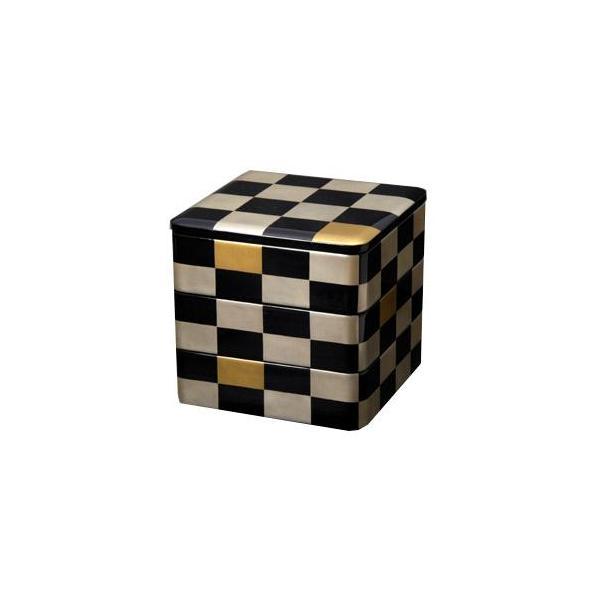三段重 銀市松 重箱/漆器/6.5寸|heiando
