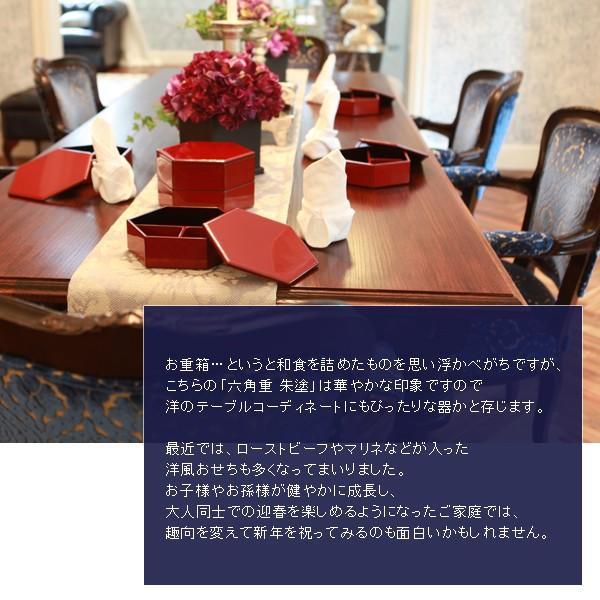 漆器 山田平安堂 六角三段重 朱塗 重箱/漆器|heiando|05