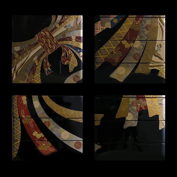 漆器 山田平安堂 熨斗蒔絵 三段重 重箱/漆塗り 【継承工房】|heiando|04