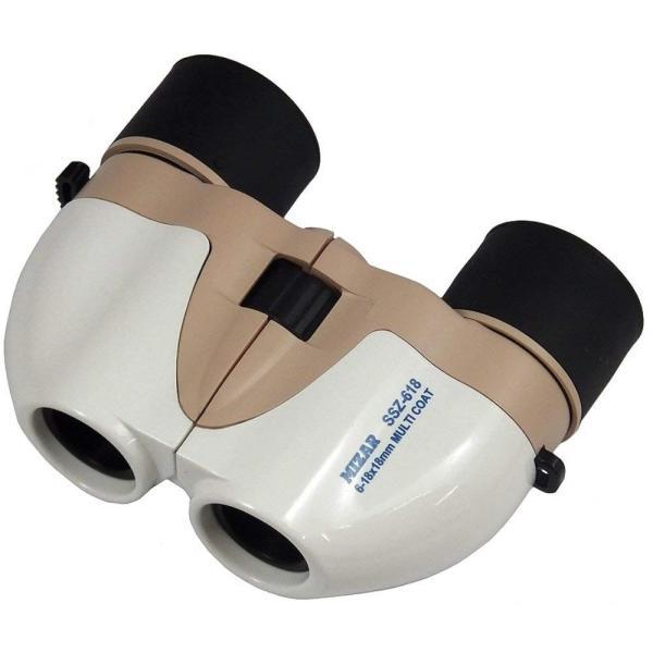 MIZAR-TEC 双眼鏡 Aries ポロプリズム式 倍率6~18倍 18ミリ口径 ズームタイプ ホワイト×ベージュ SSZ-618