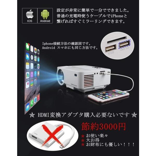 DBPOWER ミニ プロジェクター 1500lm iPhone/Android スマホ直接に接続可 台形補正 HDMIケーブル付属 108
