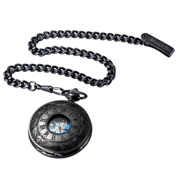 ManChda 機械式,手巻きメンズ 懐中時計 アンティーク レトロ 紳士 女性 (ブラック2)