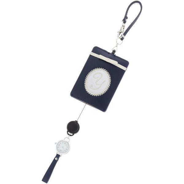 フィールドワークFieldwork パスケース イニシャル 時計 付き ネイビー LW052-4