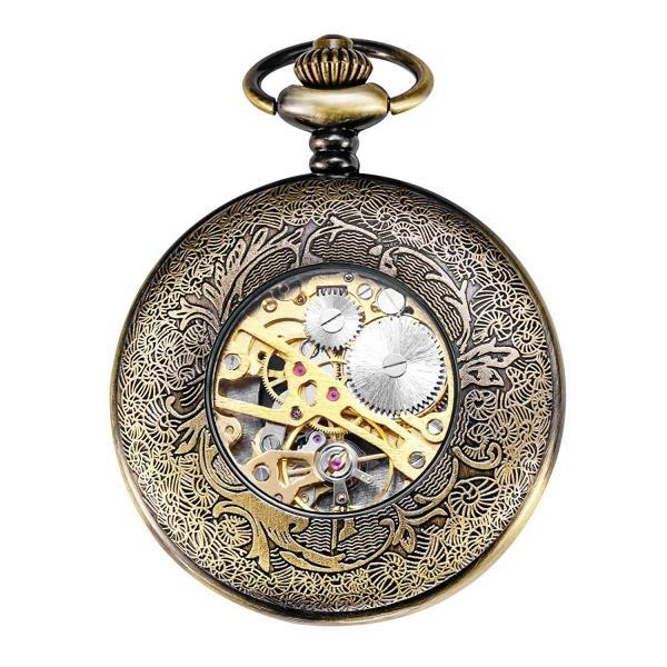 TREEWETO 機械式 懐中時計 ペンダント スチームパンク 銅 ケース スケルトン フォブ