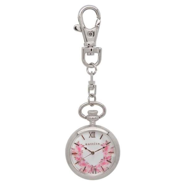 フィールドワークFieldwork 懐中時計 キーチェーンウォッチ アナログ表示 シルバー ホワイト ST194-1 フラワー 花柄 nat