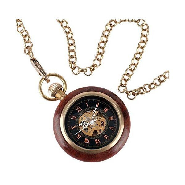 SYNC 木製 ウッド懐中時計 アンティーク 手巻き レトロ 機械式