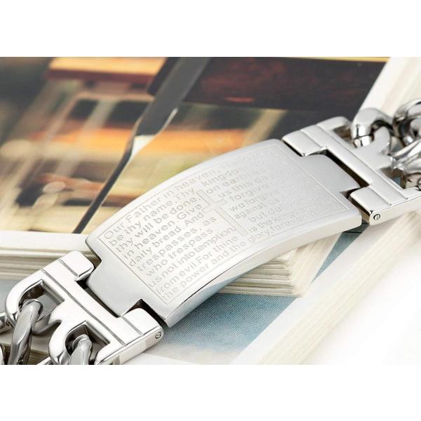 Flongo ファション メンズ ブレスレット ステンレス バングル 極太 重量型 聖書 刻印 欧米風 男子アクセサリー 腕輪 シルバー hello-2017