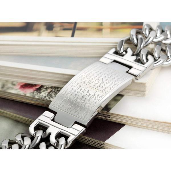 Flongo ファション メンズ ブレスレット ステンレス バングル 極太 重量型 聖書 刻印 欧米風 男子アクセサリー 腕輪 シルバー hello-2017 06