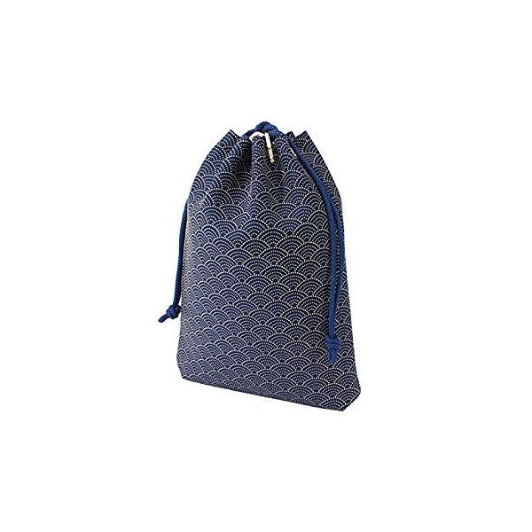 INDEN-YA 印傳屋 印伝 合切袋 巾着 メンズ 男性用 紺×白 青海波 3007-14-004|hellodolly|02