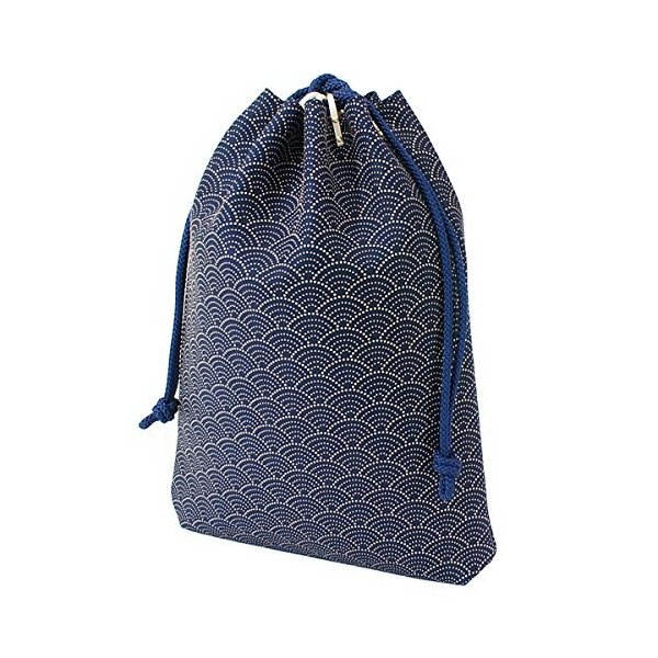 INDEN-YA 印傳屋 印伝 合切袋 巾着 メンズ 男性用 紺×白 青海波 3007-14-004|hellodolly|05
