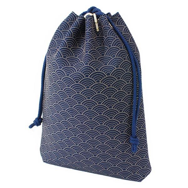 INDEN-YA 印傳屋 印伝 合切袋 巾着 メンズ 男性用 紺×白 青海波 3007-14-004|hellodolly|07