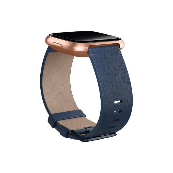 Fitbit フィットビット Versa 専用 純正 交換用 レザー リストバンド Midnight Blue ミッドナイトブルー Sサイズ