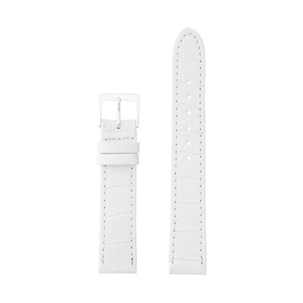 ミモザMIMOSA ミモザ時計バンド P型押ワニ(牛革型押し/竹符) 17mm ホワイト CP-WH17