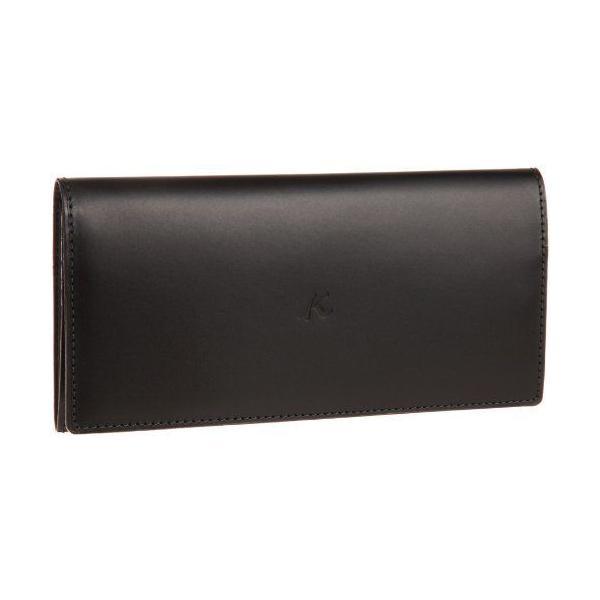 キタムラ財布長財布ZH0070ブラック/ダークグリーンステッチ黒15321