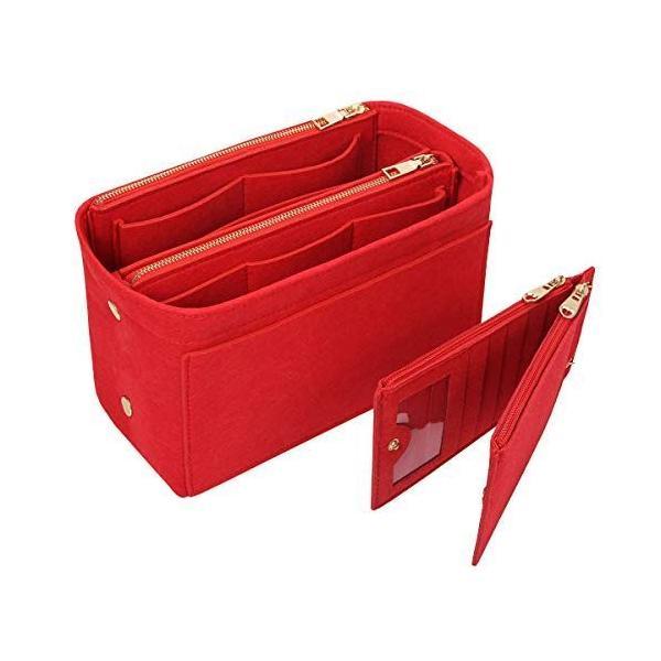 APSOONSELLバッグインバッグフェルトカードケース付き(取り外し 仕切りポケット)軽量自立バックインバックレディース