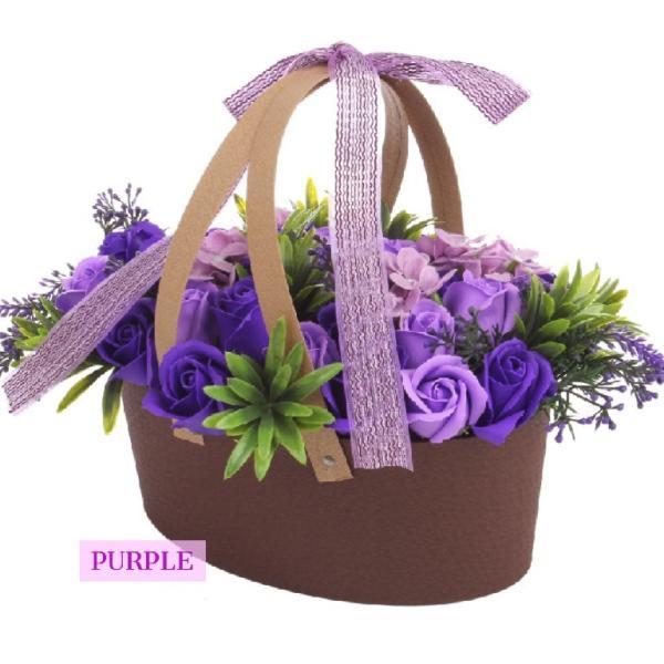 ソープフラワー アレンジメント バスケットタイプ purple|hfs05|02