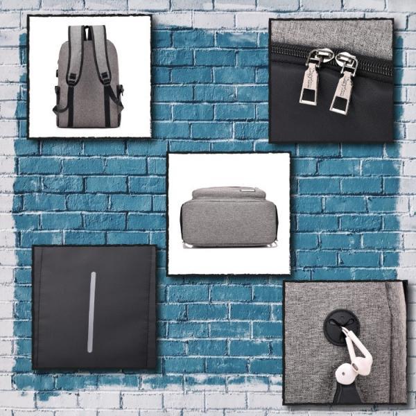 リュック ビジネス キャンバス USBポート おしゃれ 可愛い 学生 大容量 A4 リュックサック バックパック デイパック バックハンガー セット|hfs05|04