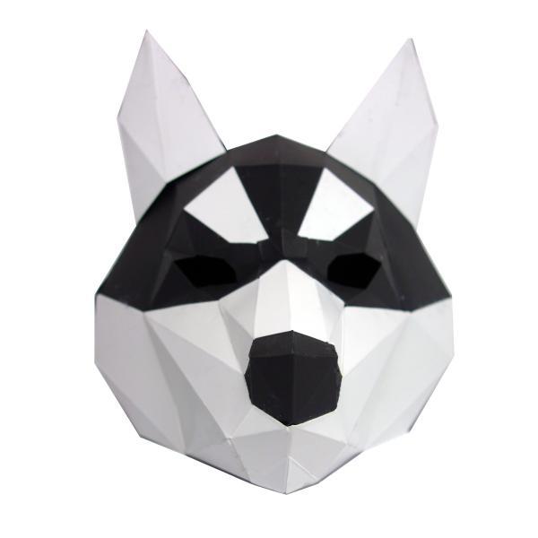 ペーパー クラフト マスク ハスキー 犬 ポリゴン DIY 折り紙 カット済み |hfs05|05