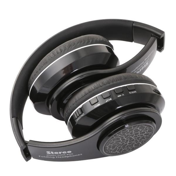 Bluetoothワイヤレス ヘッドホン/ヘッドフォン Squid 折りたたみ式 通話機能 有線接続可 LEDTYPE|hfs05|07