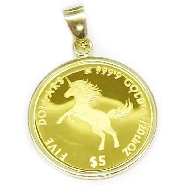 純金K24金ユニコーン コインジュエリーペンダント 1/20オンス(5$)裏面エリザベス女王英国王室(ロイヤルミント)製造 贈答品に【ギフトラッピング済み】