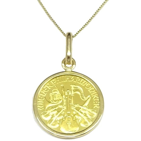 純金オーストリアハーモニー金貨(1/25oz)コインペンダント・トップK24金・K10Gチェーン付/送料無料