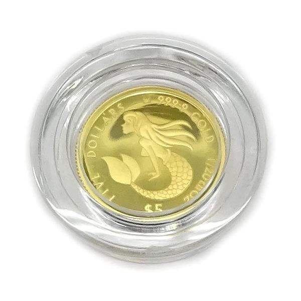 マーメイド・コインジュエリー 純金1/20オンスNZ$5 (ニュージーランド・ドル)2021 Mermaid Coin 直径16mm 限定発行 1000枚/送料無料