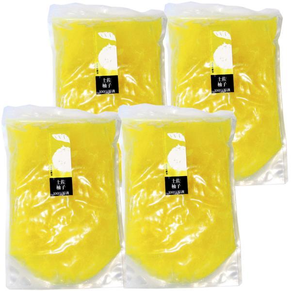 ゆず 果実原液 100% 4リットル 1L×4 冷凍 無農薬 無添加 業務用 送料無料  柚子果汁 高知県土佐名産会