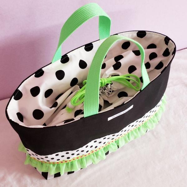 ネオングリーンと黒帆布のトートバッグ(裏地巾着)・大 受注製作「haussement innocent」|hi-inari|04