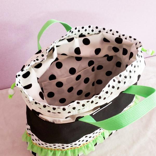 ネオングリーンと黒帆布のトートバッグ(裏地巾着)・大 受注製作「haussement innocent」|hi-inari|05