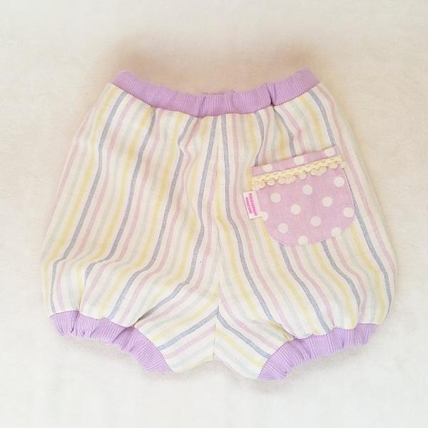 DM便送料無料 ハンドメイド ご出産お祝いにも♪ダブルガーゼのbabyかぼちゃパンツ・purple「haussement innocent」|hi-inari
