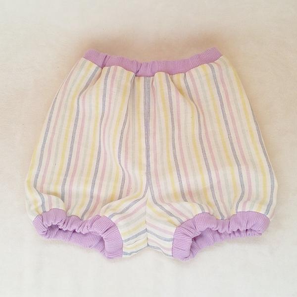 DM便送料無料 ハンドメイド ご出産お祝いにも♪ダブルガーゼのbabyかぼちゃパンツ・purple「haussement innocent」|hi-inari|02