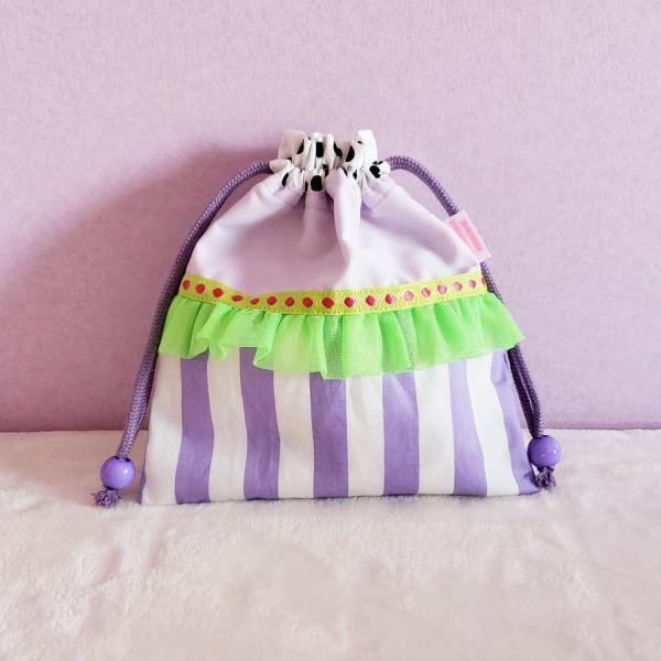 DM便送料無料 ネオングリーンとパープルのミニ巾着(受注製作) hi-inari