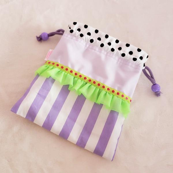 DM便送料無料 ネオングリーンとパープルのミニ巾着(受注製作) hi-inari 02