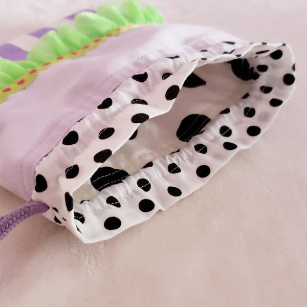 DM便送料無料 ネオングリーンとパープルのミニ巾着(受注製作) hi-inari 03