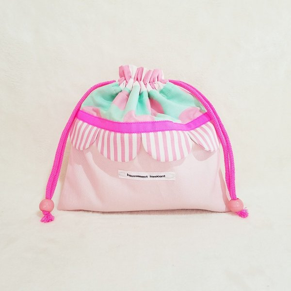 DM便送料無料 ピンクとスカラップの巾着・中(受注製作) hi-inari