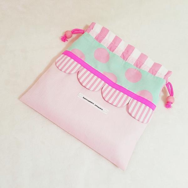 DM便送料無料 ピンクとスカラップの巾着・中(受注製作) hi-inari 02